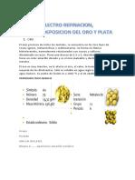 Electro Refinacion, Electrodeposicion Del Oro y Plata