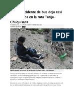 Nuevo Accidente de Bus Deja Casi 15 Muertos en La Ruta Tarija