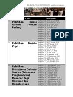 Jadwal Pelatihan Restoran Tahun 2019