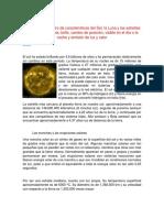 Características del sol y de la luna