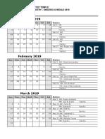 BBTSJ Singers Calendar 2019