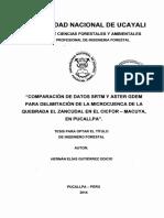 COMPARACION DE DATOS  SRTM Y ASTER GDEM PARA DELIMITACION DE CUENCAS DE LA QUEBRADA EL ZANCUDAL
