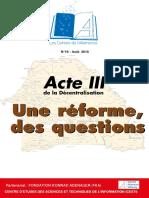 Cesti Et Acte III de La Decentralisation