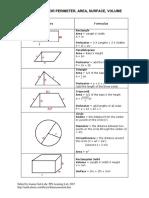 Geometry Formulas 2D 3D Perimeter Area Volume