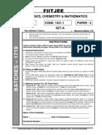 Fiitjee Phase-V advance paper