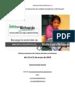 Síntesis Educativa Semanal de Michoacán al 21 de enero de 2019