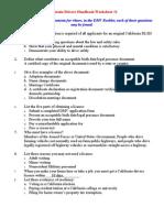 California Drivers Handbook Worksheet 1