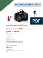 Canon SX530 HS Ficha Tecnica