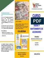 TRIPTICO CURSO UMH- DISEÑO Y MANTENIMIENTO DE ASCENSORES   -julio 2013