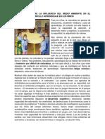 Ilustración Sobre La Influencia Del Medio Ambiente en El Proceso de Desarrollo Aprendizaje en Los Niños