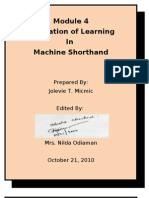 Module 4 Machine Shorthand