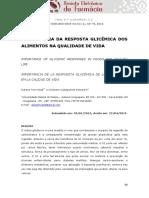 IMPORTÂNCIA DA RESPOSTA GLICÊMICA DOS ALIMENTOS NA QUALIDADE DE VIDA
