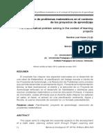 La resolución de problemas matemáticos en el contexto de los proyectos de aprendizaje