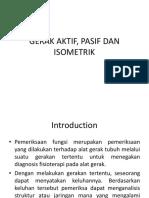 Gerak Aktif, Pasif Dan Isometrik