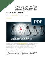 5 Ejemplos de Como Fijar Los Objetivos SMART de Una Empresa