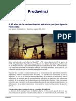 A 40 Años de La Nacionalizacion Petrolera