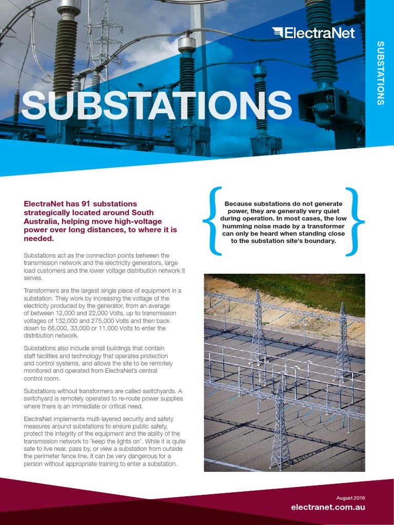 ElectraNet-Fact-Sheet-Substations-2016 pdf | Electrical