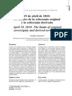 19 de Abril de 1810 Los Limites de La Soberania Original y La Soberania Derivada