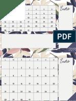 Calendario 2019 a4 Mensual Maison de Fleurs