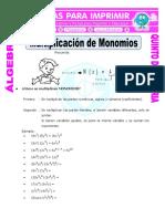 Multiplicacion de Monomios Para Quinto de Primaria