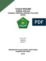 Tugas Resume Aqida Ahlaq Hamdani