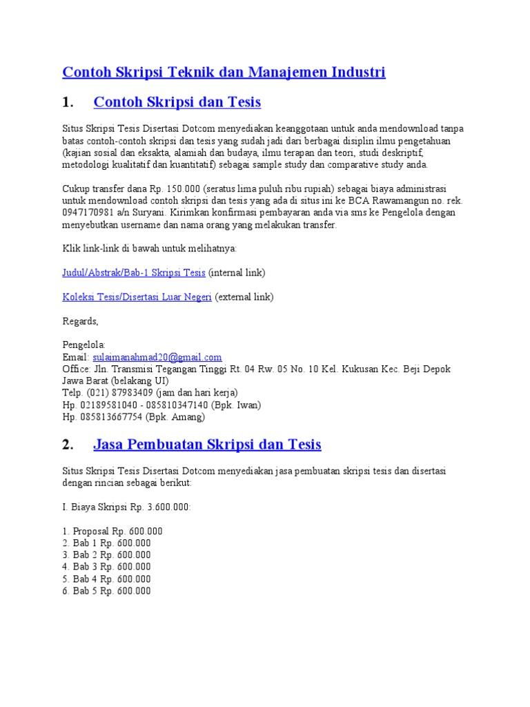 Contoh Skripsi Teknik Manajemen Industri