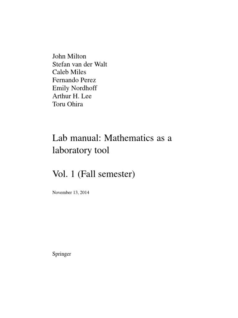 Lab Manual Vol1 Nov13 2014-1 | Ordinary Differential