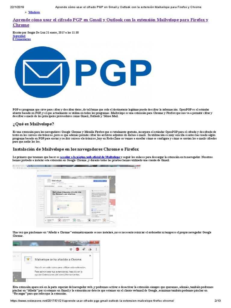 Aprende Cómo Usar El Cifrado PGP en Gmail y Outlook Con La
