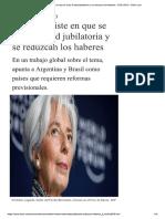 Fmi Insiste Suba Edad Jubilatoria Reduzcan Haberes