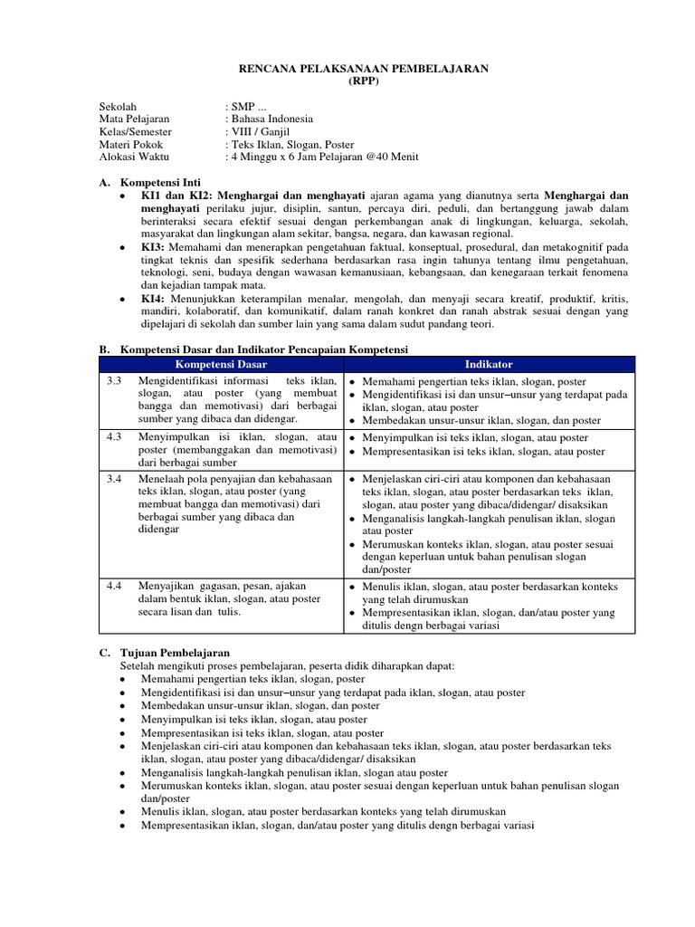Contoh RPP K13 Bahasa Indonesia Teks Iklan, Slogan, dan ...