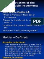10 Negotiation of Negotiable Instuments