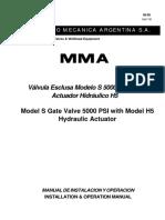 M-58 Valvula Esclusa Modelos s Actuador Hidraulico