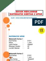Teknik Menjawap Matematik Kertas 2
