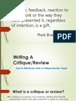 Critiquing