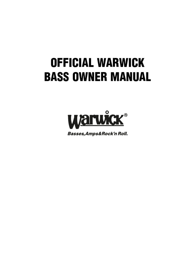 Official Warwick Bass Owner Manual