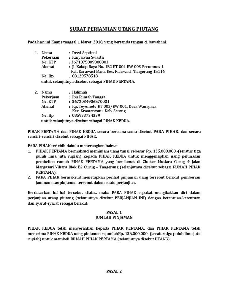 Surat Perjanjian Hutang Piutang Dengan Jaminan Rumah
