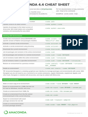 Conda Cheatsheet 2019 | Computing Platforms | Operating
