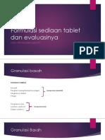 Formulasi Sediaan Tablet Dan Evaluasinya