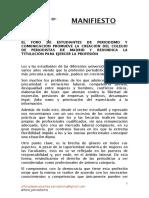 Manifiesto Foro Estudiantes Por El Colegio de Periodistas