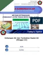 Rekayasa Sumberdaya Air [Kuliah-13]-Air & Ketenagaan
