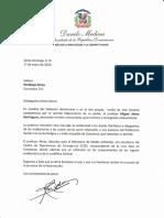 Carta de condolencias del presidente Danilo Medina a Penélope Abreu por fallecimiento de su padre, Miguel Abreu Domínguez