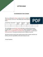 Bank Letter for Fixed Deposit - Sample