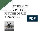 Secret Service Study Probes Psyche of u.s. Assassins