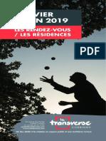 Programme du 1er semestre 2019 des résidences d'artistes à la Transverse à Corbigny
