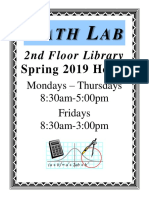 mathlab hours spring2019