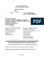 FINAL REVISED DRAFT a Felon's Crusade Response to Mackinac Strait Corridor Authority Motion for Summary Judgment COURT of CLAIMS JUDGE BORRELLO
