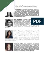 Nombres y Biografias de Los Participantes Guatemaltecos