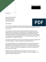 Letter to Mr Piccoli Education Minister 7 April 2011