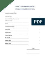 Formulir Data Provider Kesehatan