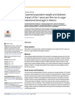 Expected population weight and diabetes impact of the 1-peso-per-litre tax to sugar sweetened beverages in Mexico